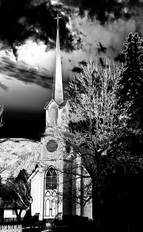 Night creeps at the old church
