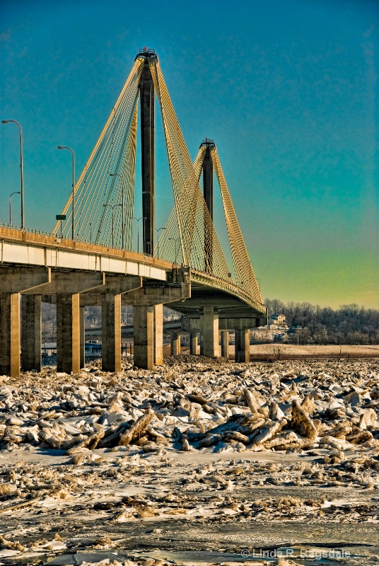 closeup bridge over icy waters