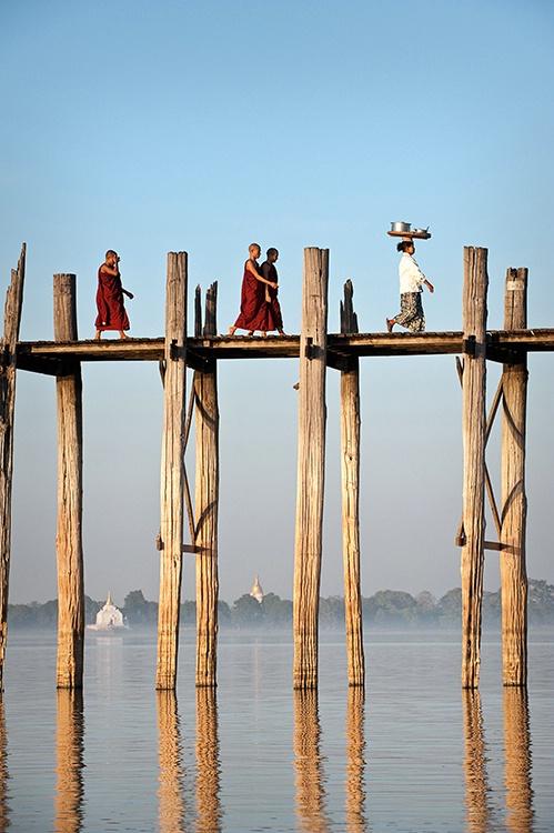 Crossing U Bein Bridge, Myanmar (Burma)