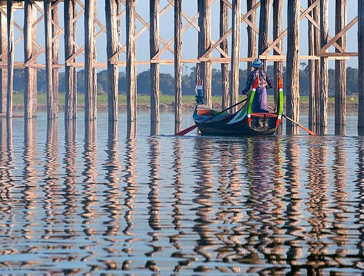 U Bein Bridge, Water Reflection, Myanmar (Burma)