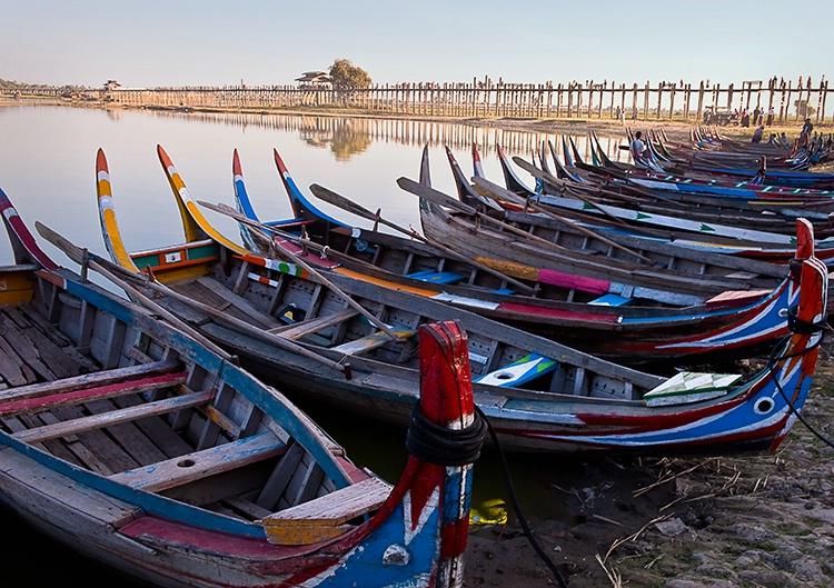 U Bein Bridge, Beached Boats, Myanmar (Burma)