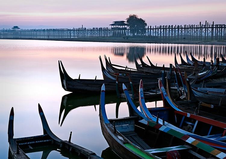 U Bein Bridge, Boats, Myanmar (Burma)