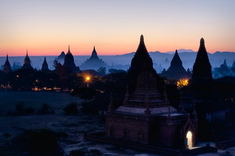 Sunrise,  Light in Doorway, Bagan, Burma