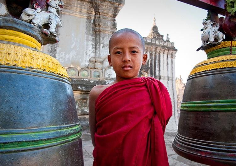 Young Monk between Bells, Myanmar (Burma)