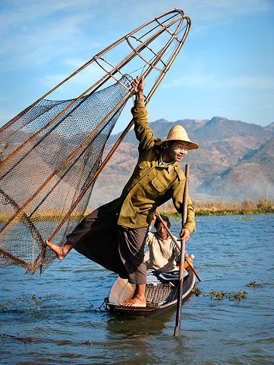Inle Lake, Holding Fishing Net, Myanmar (Burma)