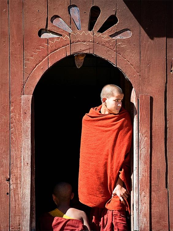 Monk in Wooden Doorway, Myanmar (Burma)