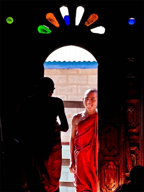 Monks at end of Doorway, Myanmar (Burma)