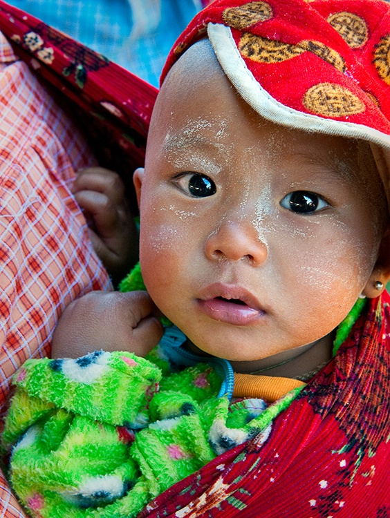 Baby with Red Hat, Myanmar (Burma)