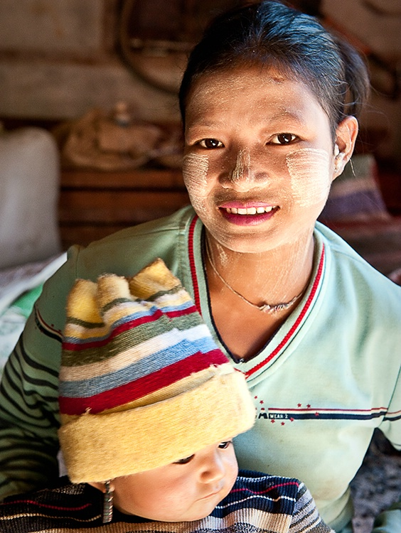 Mother and Baby wih Knit Hat, Myanmar (Burma)