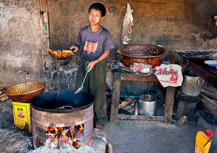 Deep Frying at Food Stall, Myanmar (Burma)