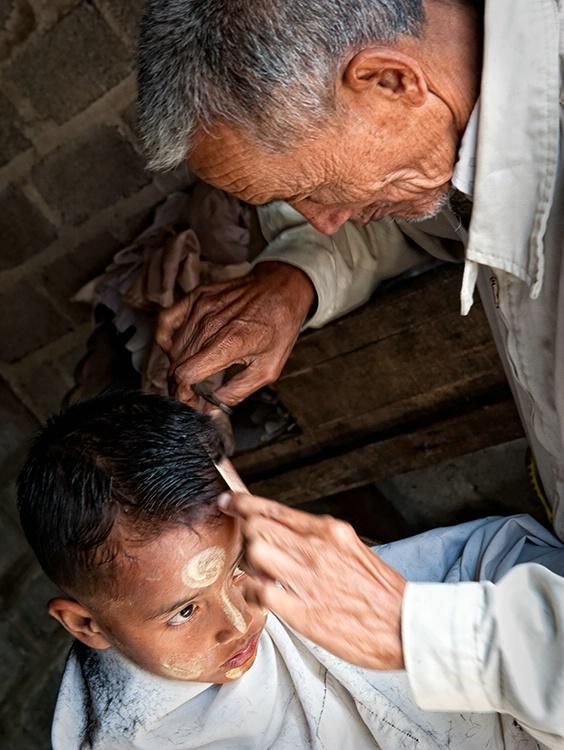 Market day haircut, Myanmar (Burma)