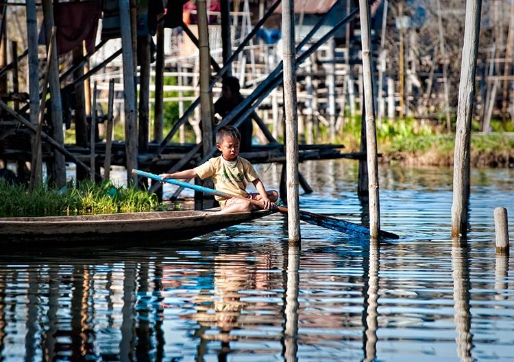 Inle Lake, Boy on Boat, Myanmar (Burma)