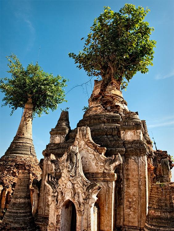 Indein ruins with trees, Inle Lake, Myanmar (Burma