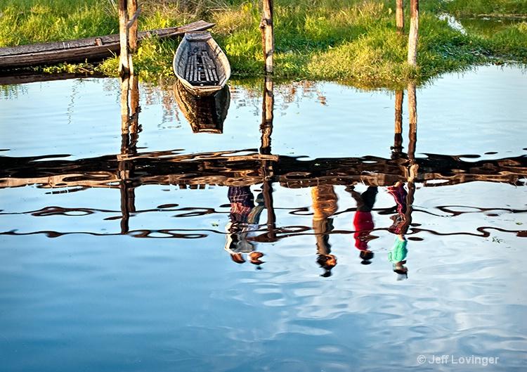 Inle Lake, bridge reflection, Myanmar (Burma)