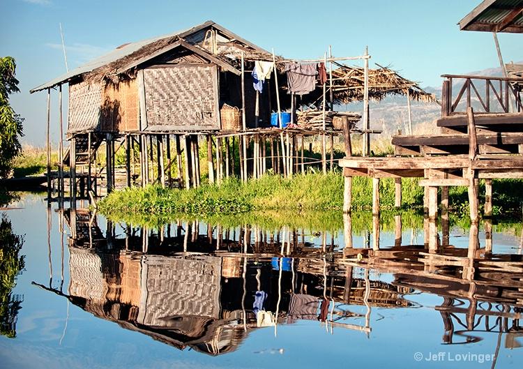 Inle Lake House Reflection, Myanmar (Burma)