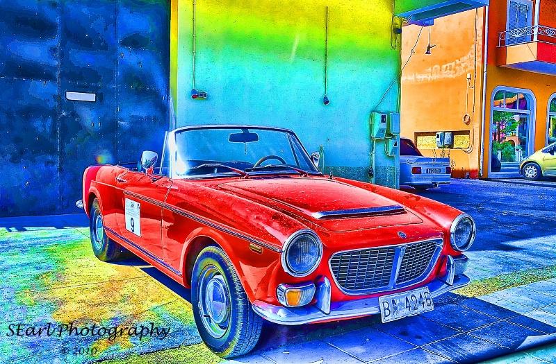 Little Red Car@@Corfu, Greece