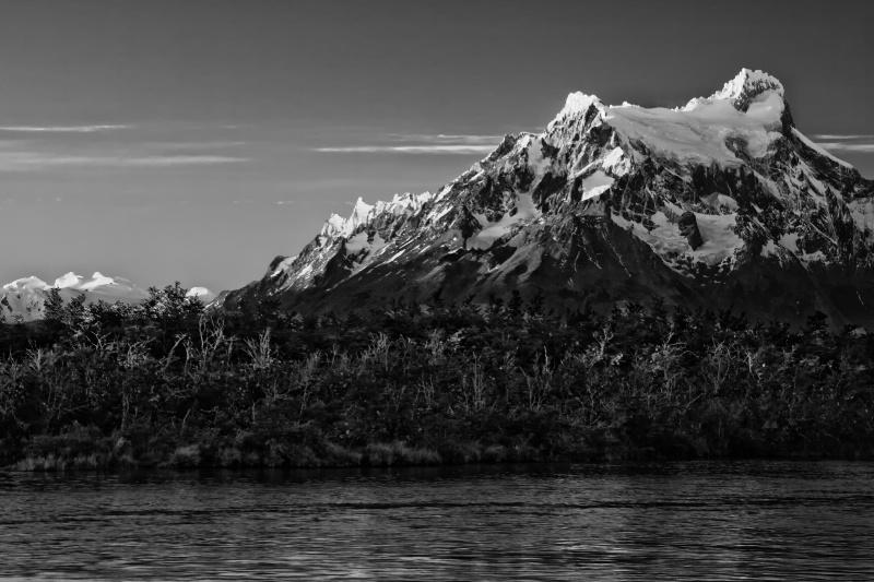 Sunlit Mountain in B&W