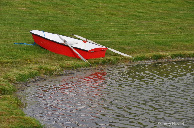 Iceland- boat at Lake Myvatn