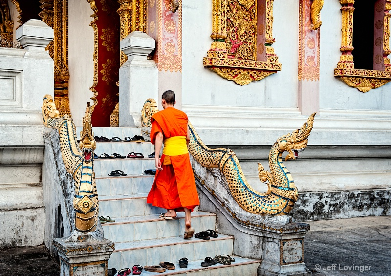 Luang Prabang, Laos, Monk on Stairs