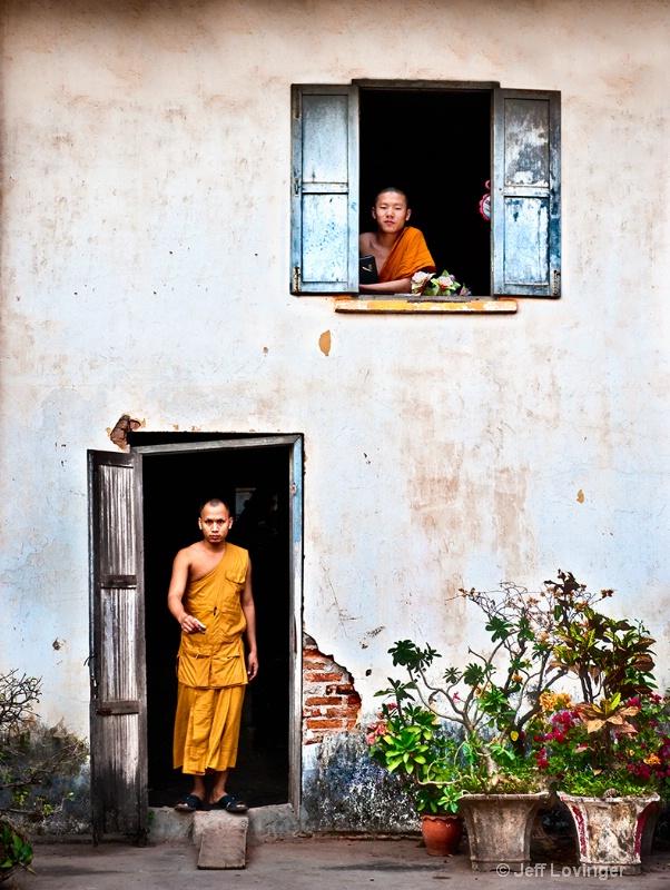 Luang Prabang, Laos, Monk in Doorway