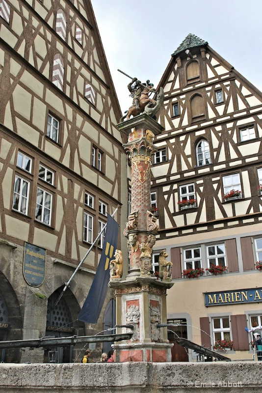 Half Timbered Houses and St George Fountain