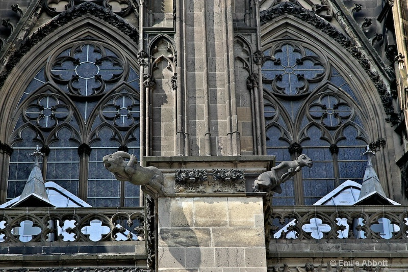 Gargoyles and Pointed Arches of Cologne Cathedral