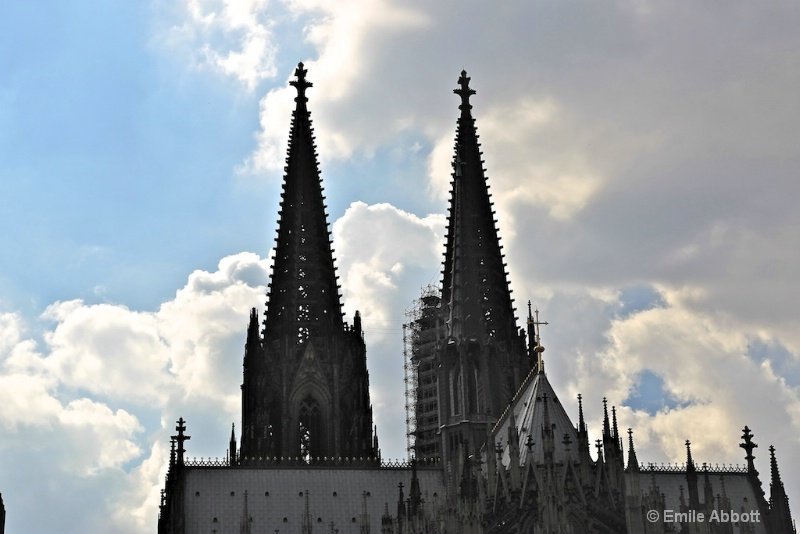 Tall twin spires of Cologne Cathedral