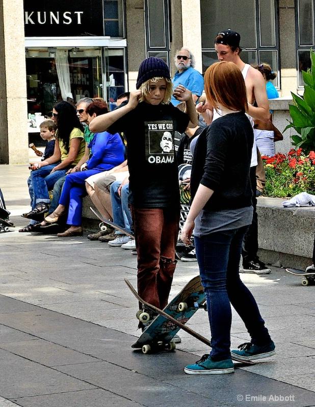 Skaters boarders talking