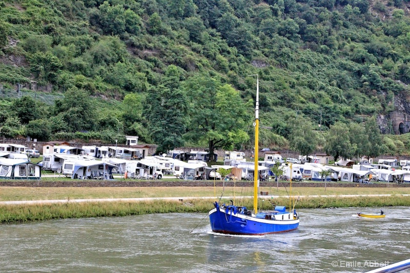 Sailboat and camping near St. Goar