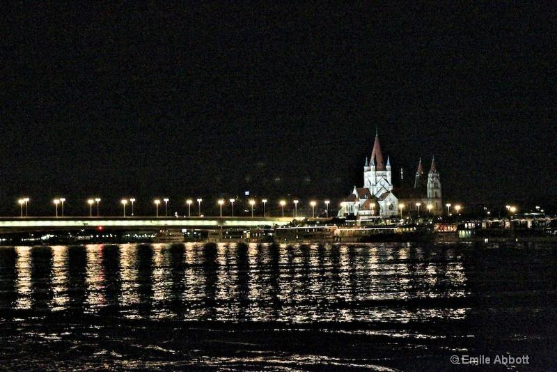Night lights on Danube Vienna