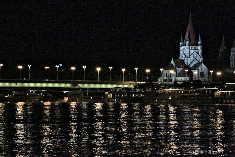 Night lights on Danube in Vienna