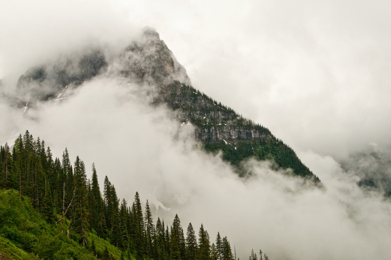 Glacier Mountain in Clouds