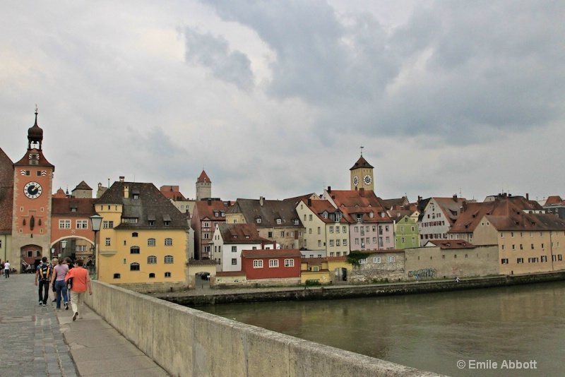 Regensburg, city wall, gate, tower & town hall