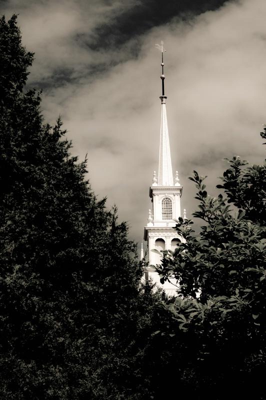B&W RI Church Steeple