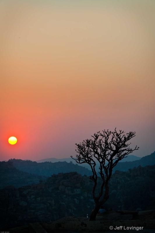 Sunset on Hanuman Mountain. Hampi, India.