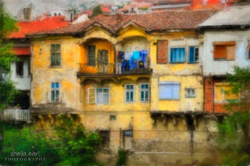 Painting of Veles Houses@@Macedonia