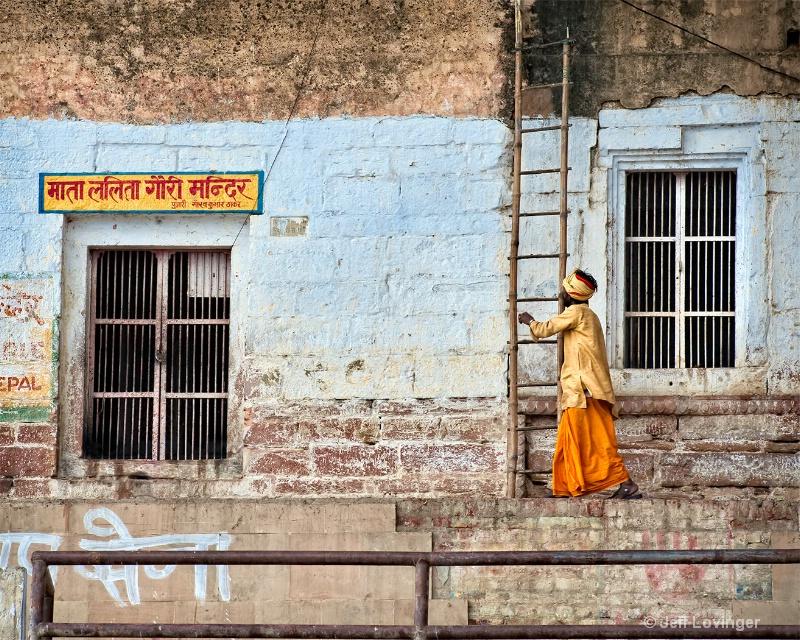 Sadhu and Ladder, Varanasi, India