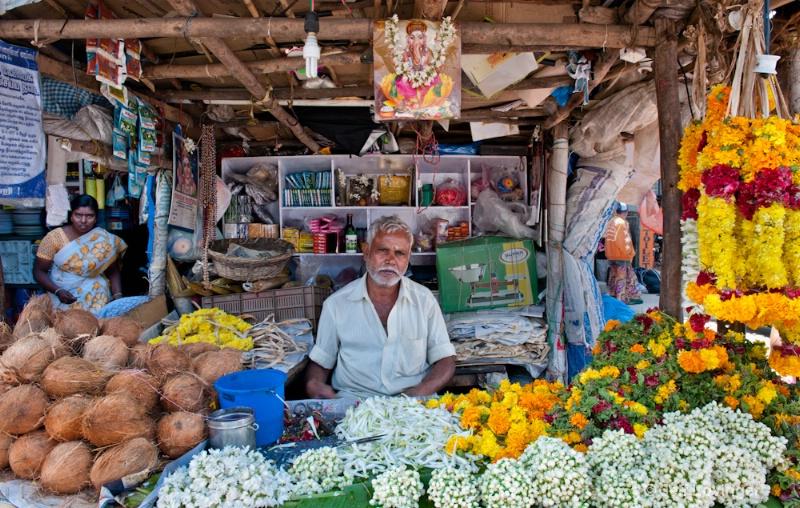 Temple Vendor, Madurai, India