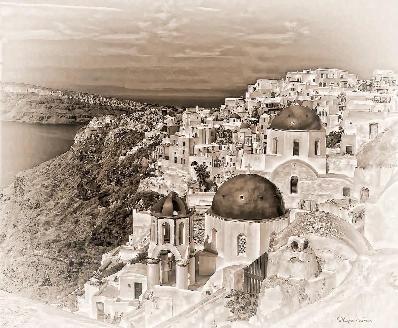 Santorini Cliffs - sepia