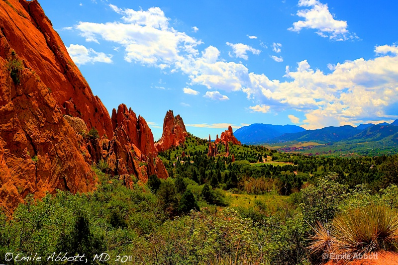 Garden of the Gods and Rockies in HDR
