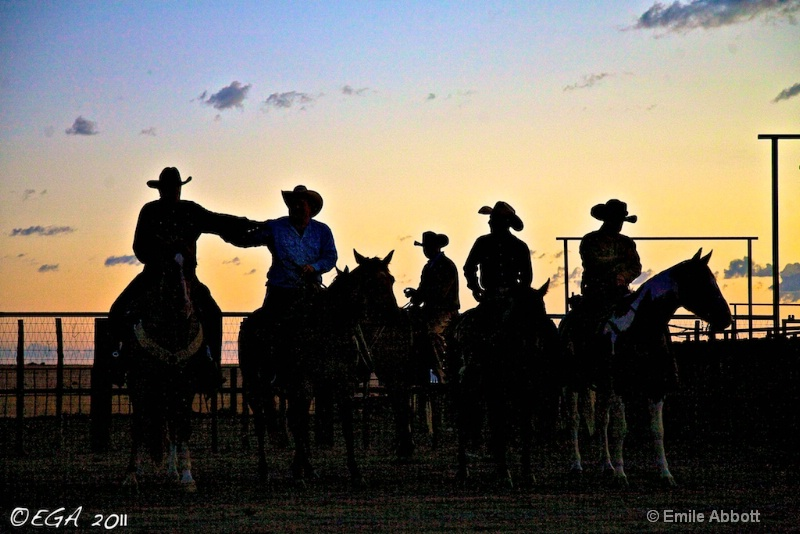 """""""Cowboys horsing around at the break of day"""