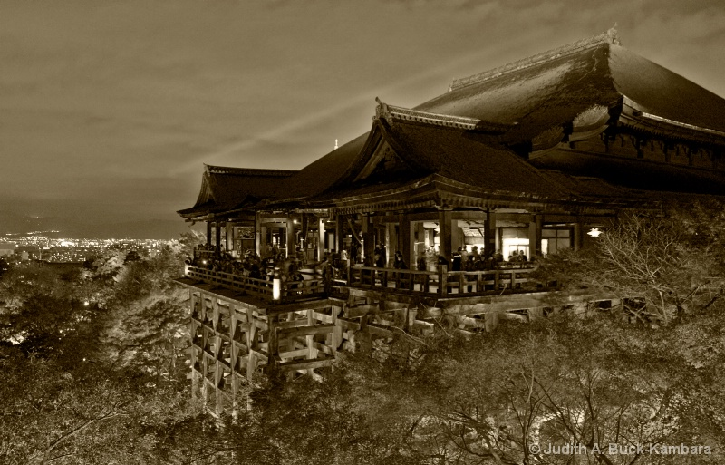 Kiyomizu Temple at Night sepia