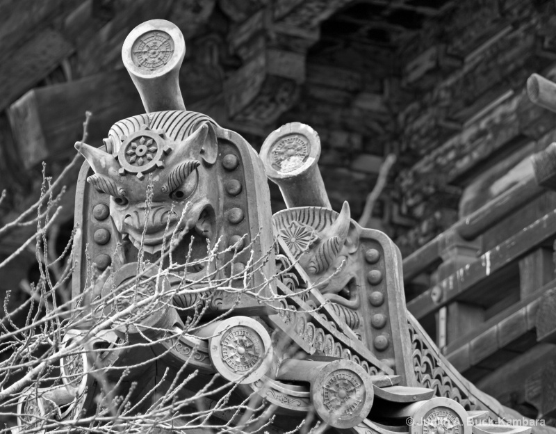Temple Faces black & white