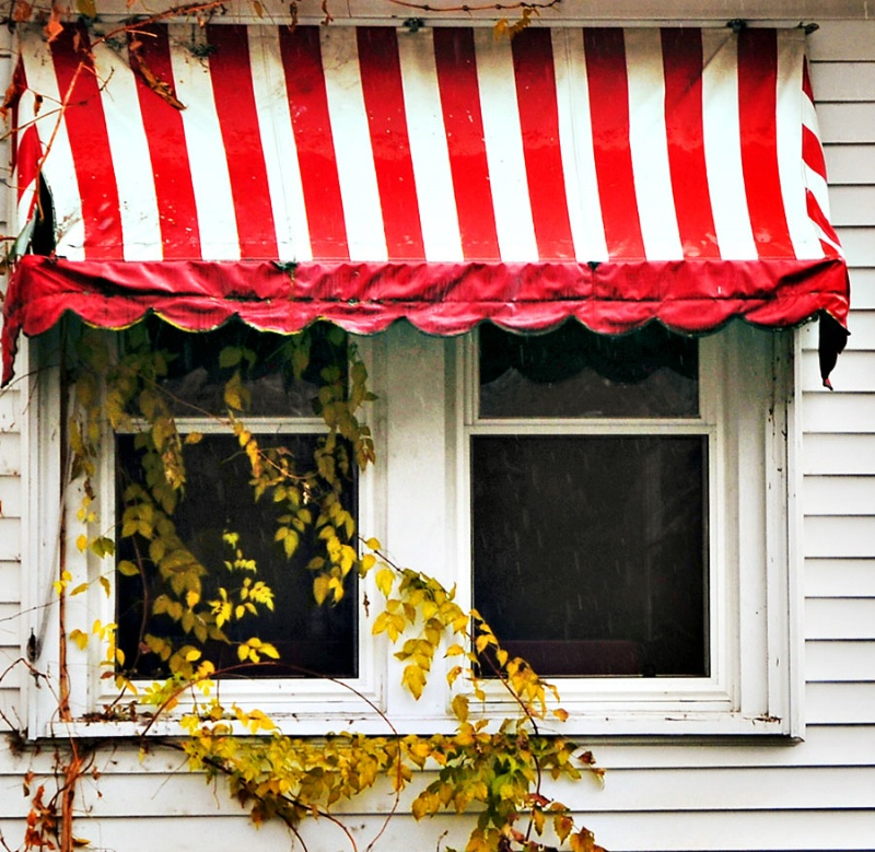 Red Striped Awning