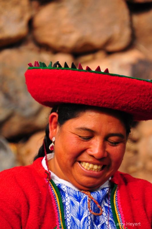Local Peruvian weaver in Urubamba Valley