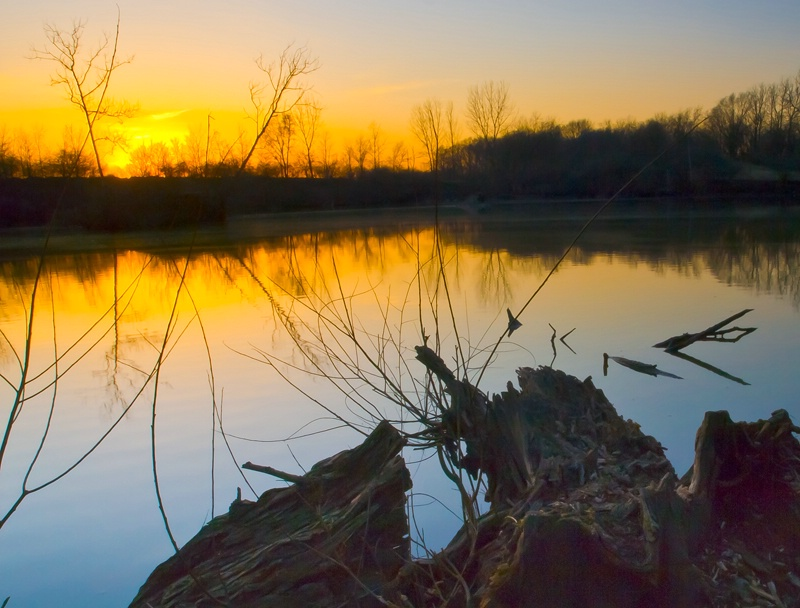 Sunset at a gravel pit