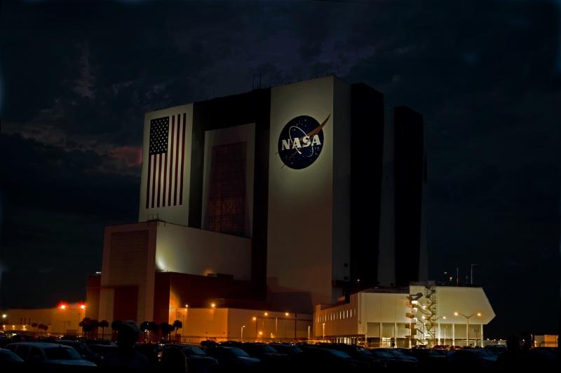 NASA Vehical Assembly Building at Night