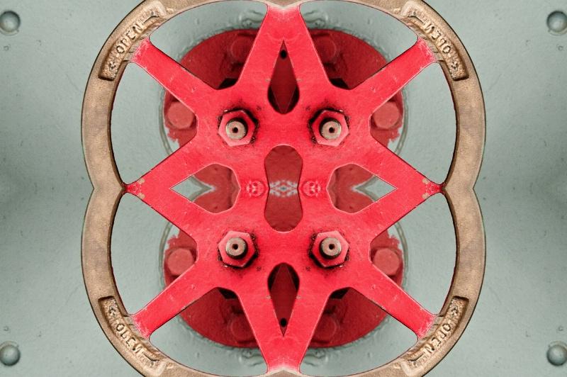 Red Ship Wheel -- Kaleidoscope