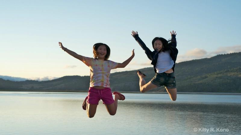 Yumiko and Julia at Stinson Beach, California