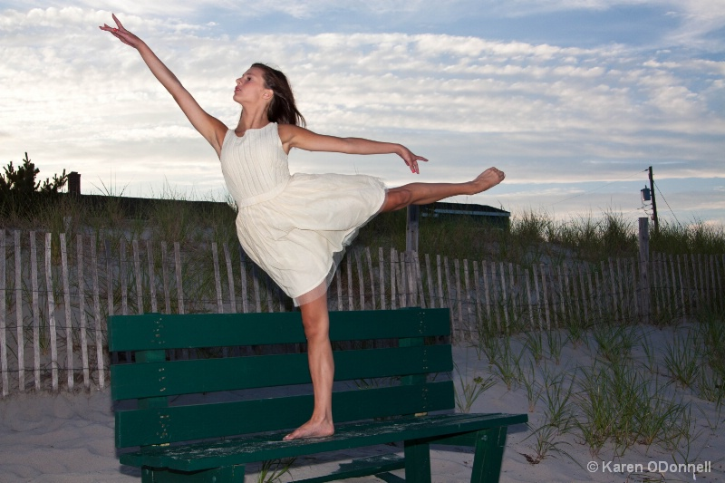 Flying on a Bench at the beach